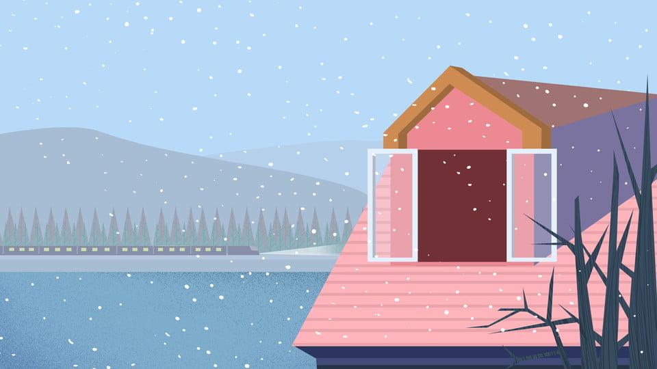 Fresh Cartoon House Snow Background Design Fresh Cartoon