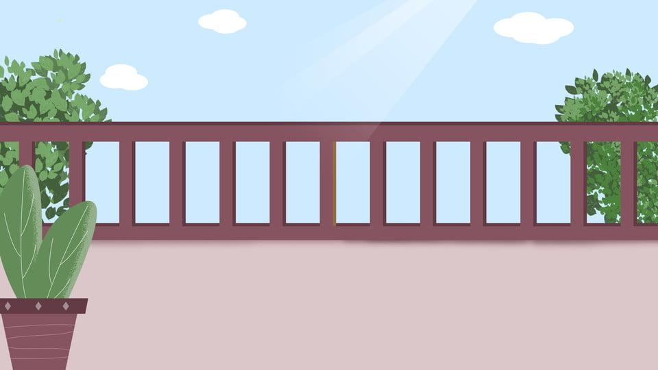 Arrière Plan De Bannière Fraîche Soleil Terrasse Balcon