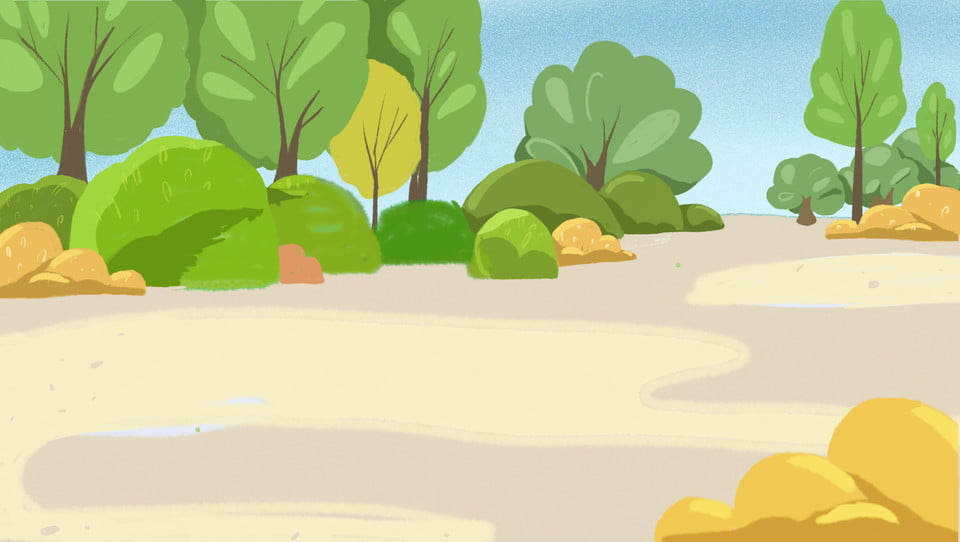 Fresh Park Trees Background Material Park Stone Cartoon Background Image For Free Download