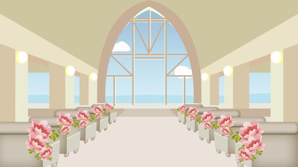 Fresh Wedding Season Church Background Cartoon Design Fresh