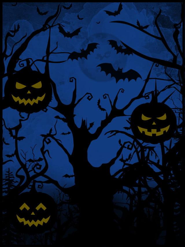 Full Halloween Funny Pumpkin Bats Scary Horror Background