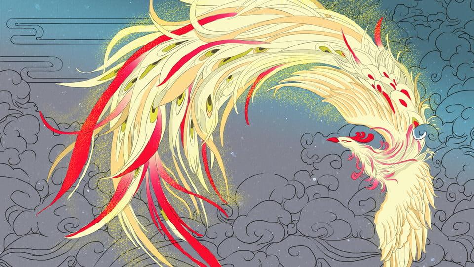 Fundo De Desenhos Animados Fenix Danca Dourada Ouro Dancando