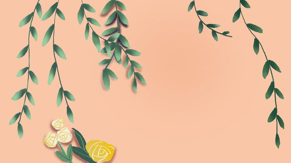 Ramos Verdes Flores Rosa Fundo Dos Desenhos Animados Verde
