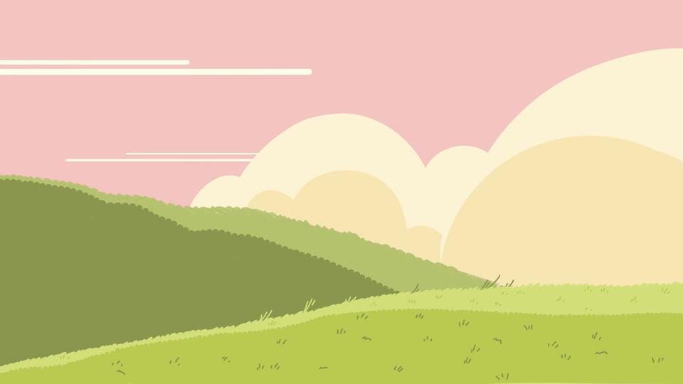 Green Grass White Clouds Pink Cartoon Background Green Grassland White Clouds Background Image For Free Download