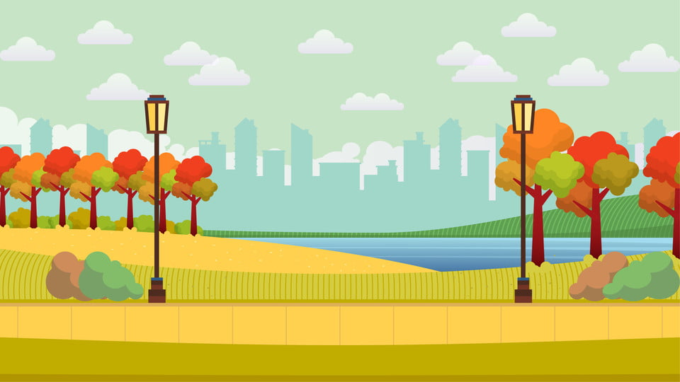 Hand Drawn Autumn Hello Park Illustration Background Hand Painted Cartoon Autumn Background Background Image For Free Download