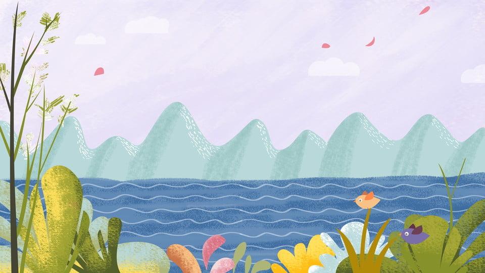 Dibujado A Mano Colorido Material De Fondo Plantas Marinas