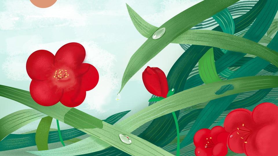 Hand Drawn Good Morning Hello Morning Flowers Plant