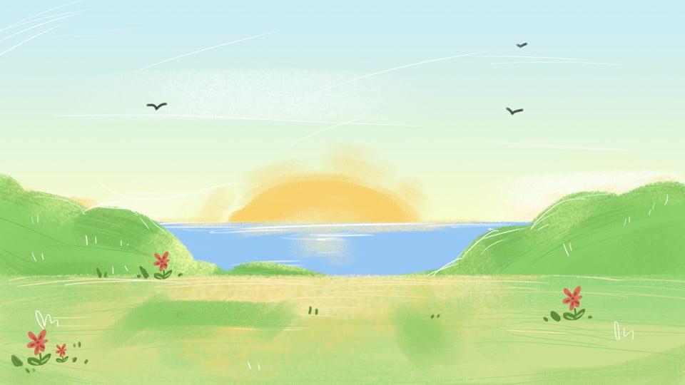 tangan dicat rumput laut latar belakang bahan matahari terbenam laut pantai imej latar belakang untuk muat turun percuma pngtree