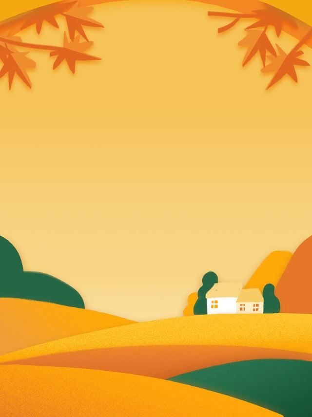 無料ダウンロードのためのイラスト紙切り秋の家カエデの葉風景グラデーションシンプルゴールデン 図 紙切り 勾配の背景画像