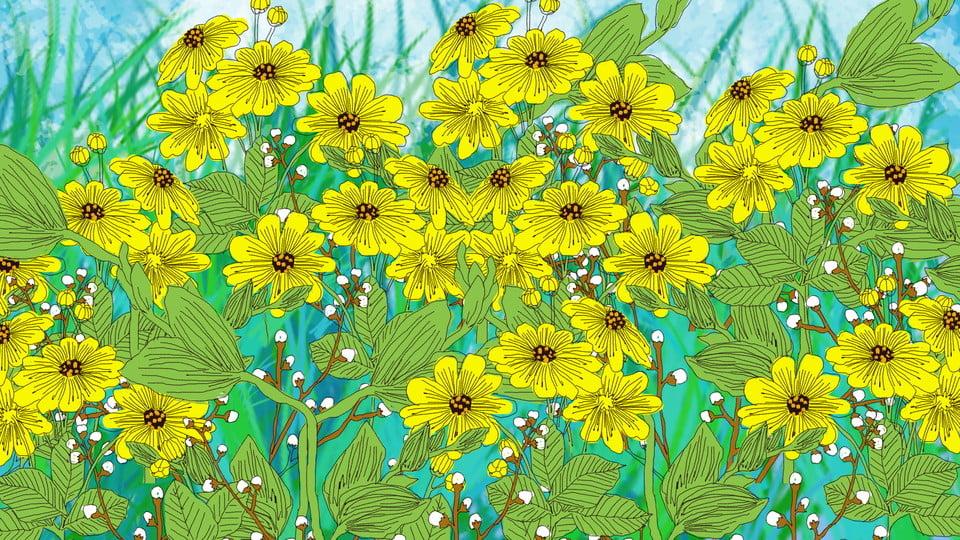 無料ダウンロードのための文芸系ひまわり花イラスト背景 手描き 文芸 治癒の背景画像