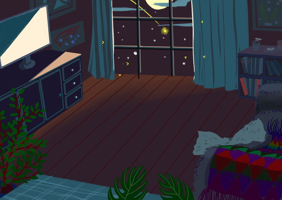 Night Bedroom Background Cartoon Hand Drawn Design Good