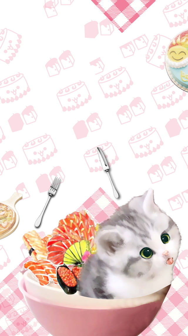 Pink Cute Cat Breakfast Background Material Pink Lattice Breakfast Background Background Image For Free Download
