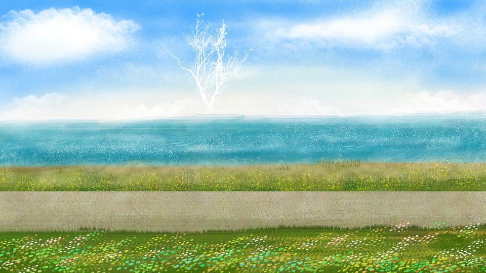 gambar bahan latar rumput rumput laut laut biru langit biru pantai latar belakang untuk muat turun percuma https ms pngtree com freebackground seaside grass background material 918711 html