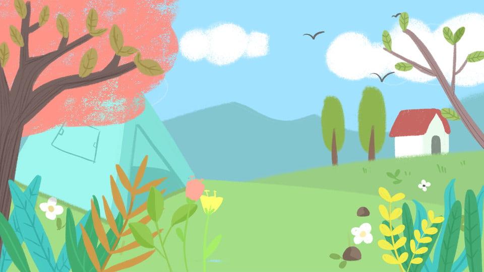 Fondo De Dibujos Animados Planta Color Pequeña Casa Sobre