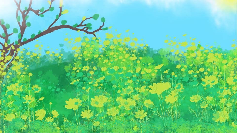 Arriere Plan De Dessin Anime Banlieue Fleur Jaune Prairie Arbres