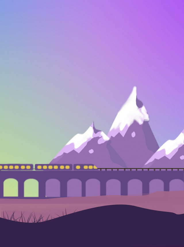 Train Background Passing Under The Mountain