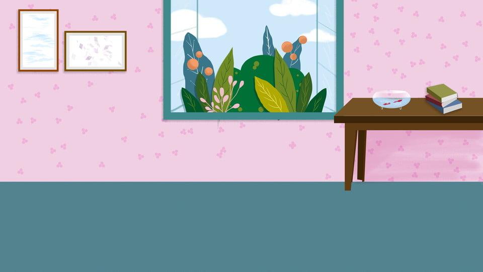 دافئ الكرتون المنزل الطابق جدار خلفية تصميم النافذة دافئ رسوم متحركة الخلفية الرئيسية صورة الخلفية للتحميل مجانا
