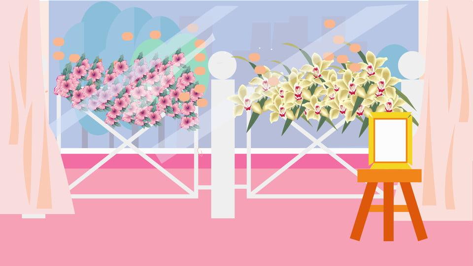 Wedding Welcome Scene Warm Cartoon Season Background