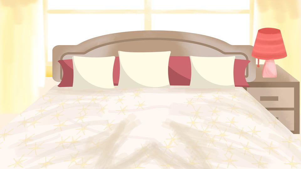 A Bed Background Design In A Cozy Hand Drawn Bedroom Morning Warm