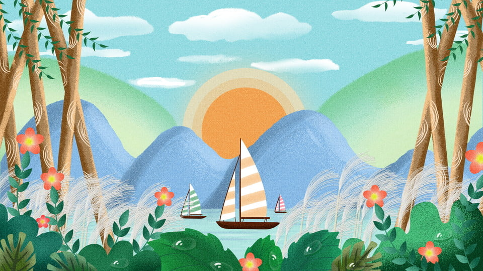 Lukisan Cantik Dicat Bahan Latar Landskap Gunung Jauh Pemandangan
