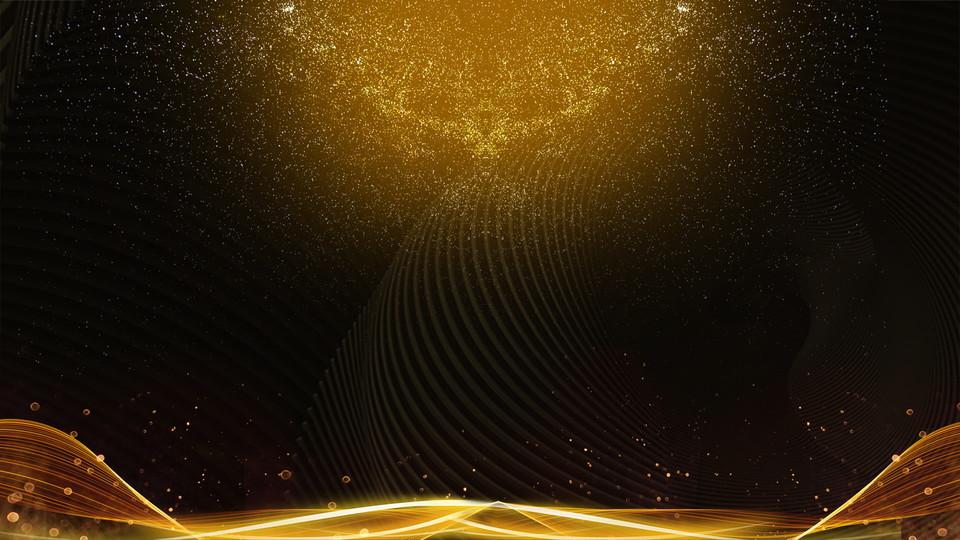 Black Gold Background Golden Streamer Commendation Assembly Material Black Gold Golden Streamer Award Background Background Image For Free Download