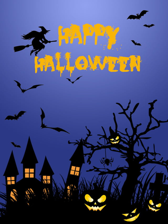 Halloween Poster Background Free.Blue Halloween Poster Background Bat Witch Pumpkin Lights