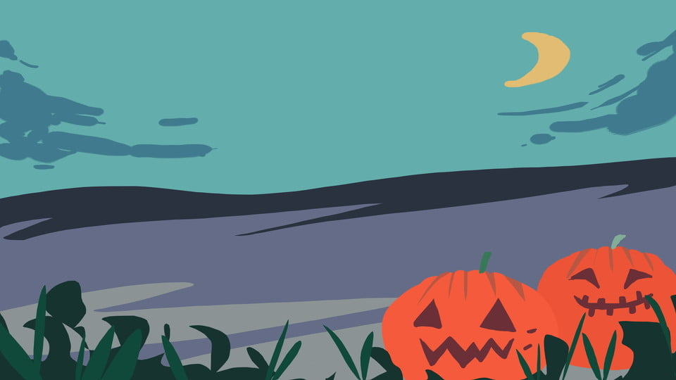 Blue Hand Drawn Halloween Pumpkin Landscape Background