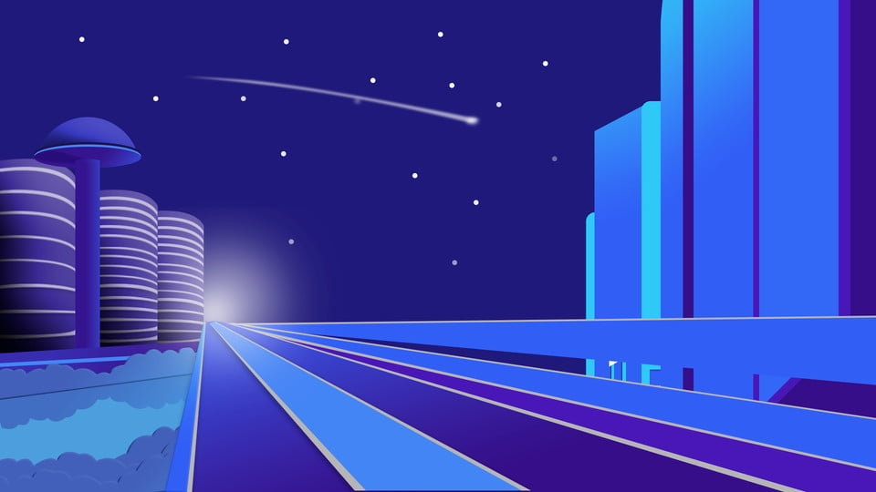 Sfondo Blu Notte Minimale Della Città Città Blu Viola Autostrada