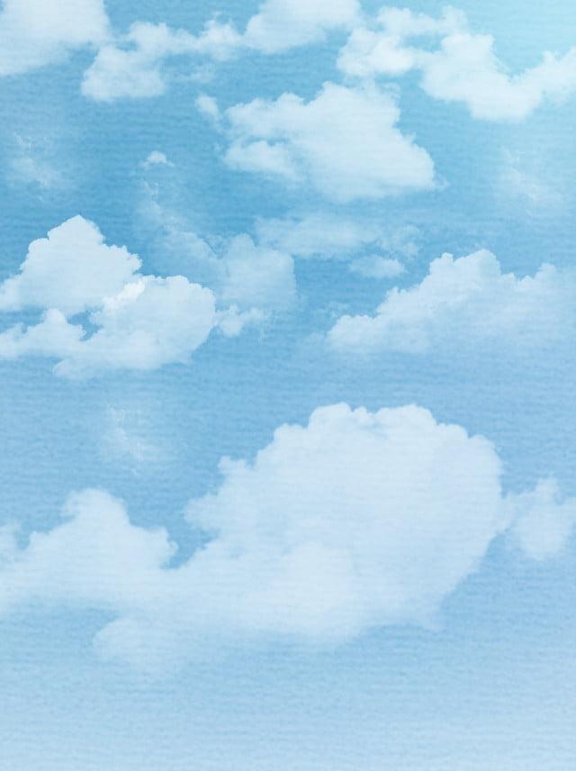 Matériel De Fond Bleu Aquarelle Nuages Bleu Ciel Bleu Couleur Unie