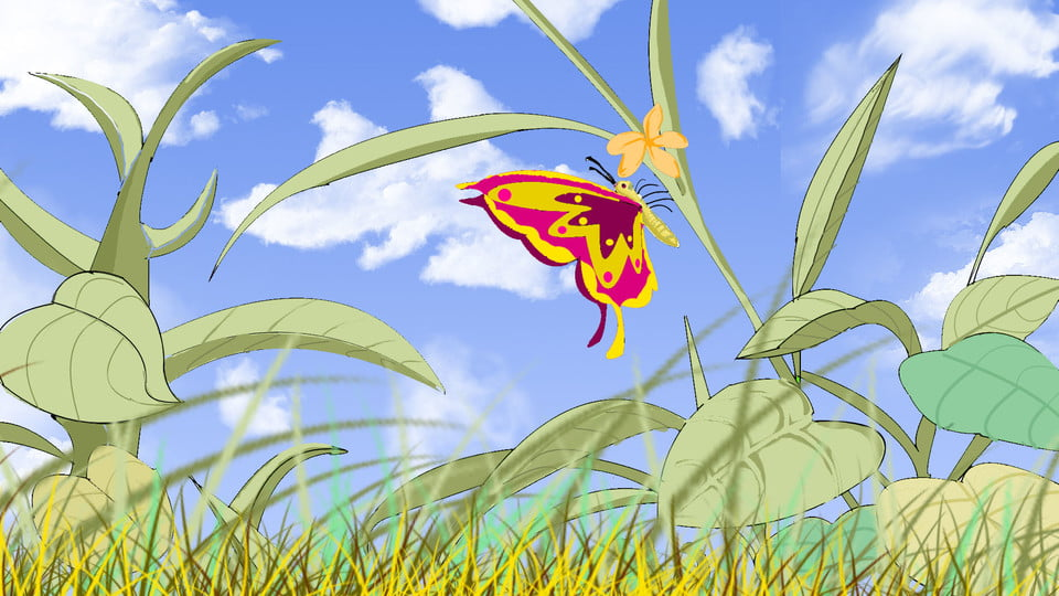 Butterfly Cartoon Background Flying Between Blades Of Grass
