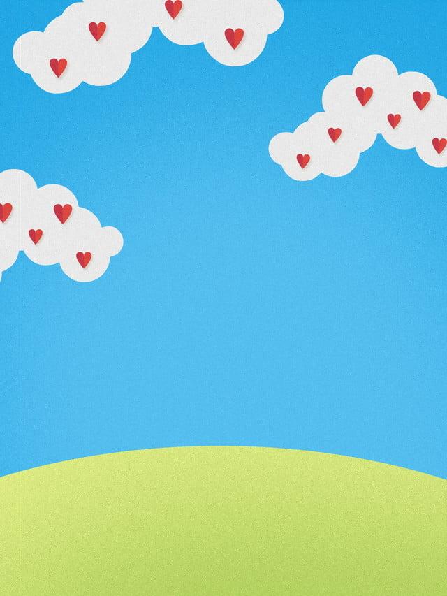 Ceu Azul Dos Desenhos Animados Nuvens Brancas Fundo Verde Fundo