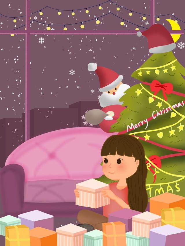Dessin Animé Jolie Fille Joyeux Noël Matériel De Fond Rouge