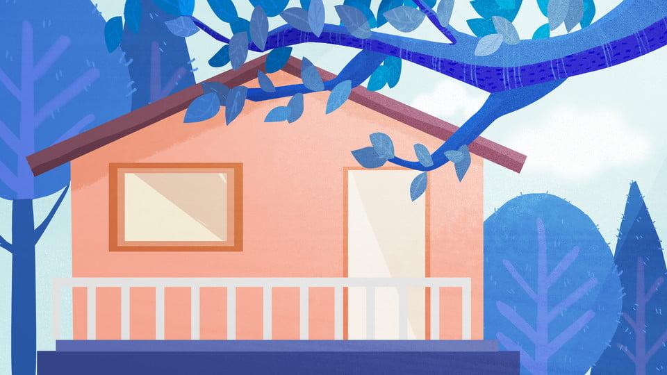 Cartoon Cute House Trees Background Design Fresh Color