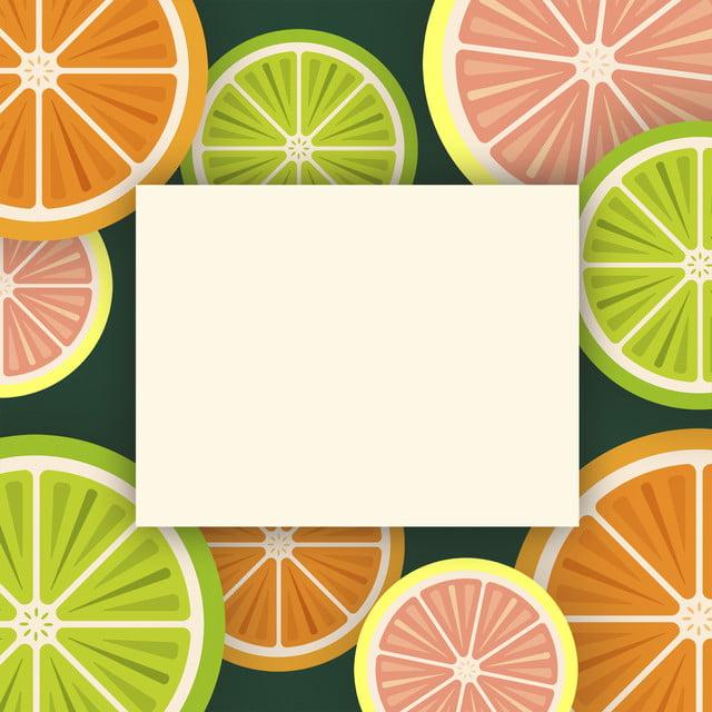 Fondo Arancio Verde Del Limone Della Frutta Fumetto Cartone Animato