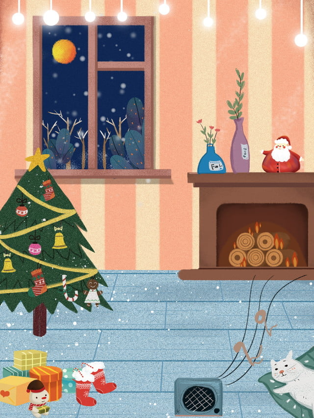 Christmas Tree Display Board.Cartoon Winter Christmas Interior Illustration Background