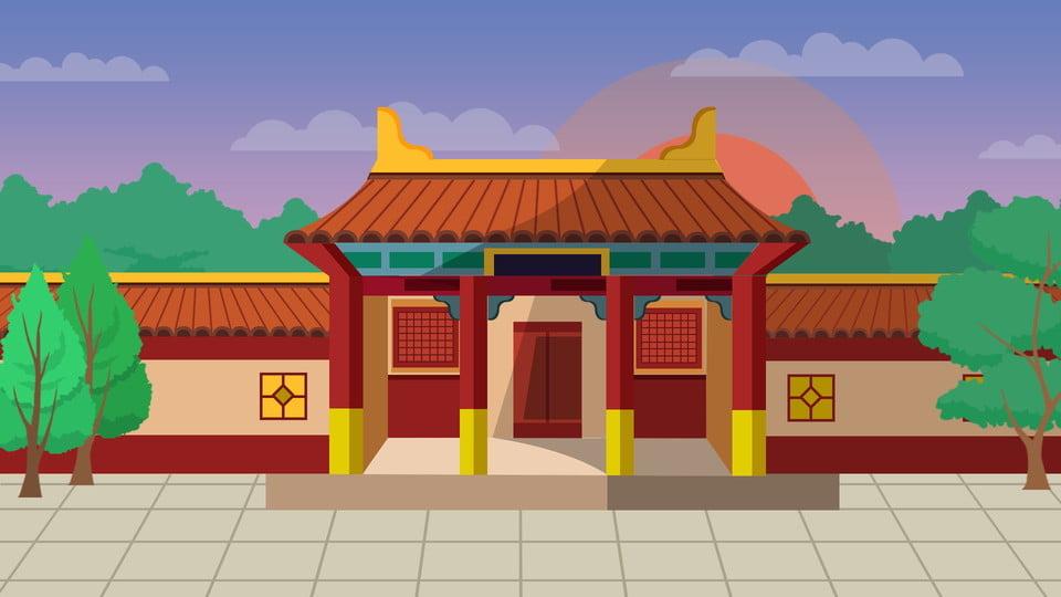 Chinese Style Cartoon House Background Design Chinese Style
