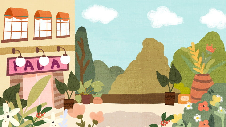 Colorful Cartoon House And Courtyard Background Design