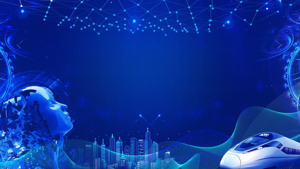 Creative Blue Robot Face Smart Technology Background ...