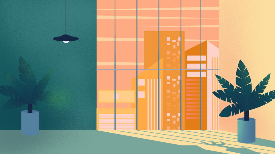 Early Morning Office Background Design Painted Background