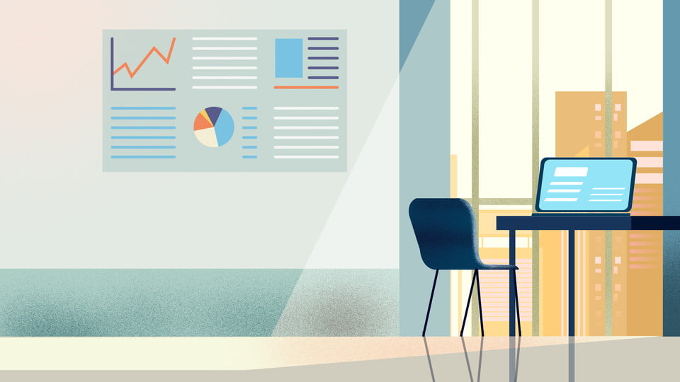 Fresh Office Background Illustration Design Hand Painted Cartoon