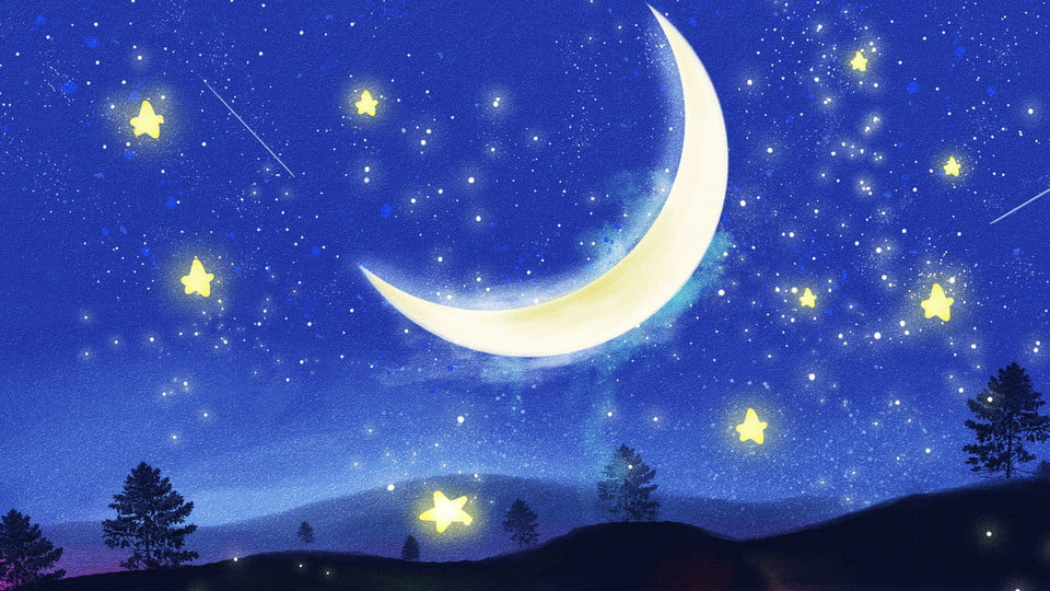 Moon And Stars Cartoon Images Wallpaperzen Org