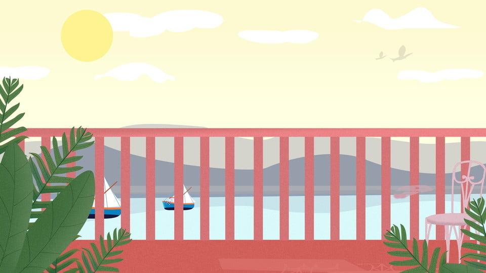 Buenos Días Mar Diseño De Fondo Barandilla Dibujado A Mano Colorear