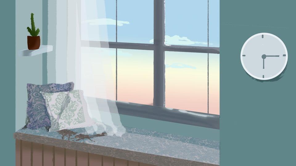 Green Warm Bedroom Window Sill Background Design Background