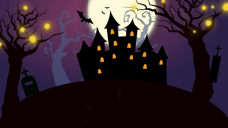 Hand Drawn Halloween Castle Landscape Background, Dark Night