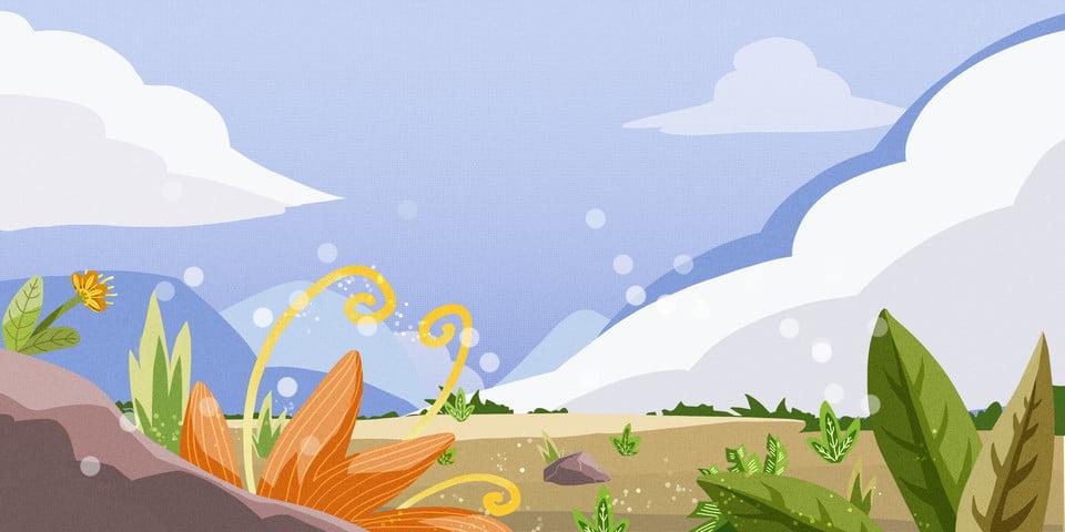 Fleurs De Prairie Dessin Anime Fond Sous Ciel Bleu Ciel Bleu