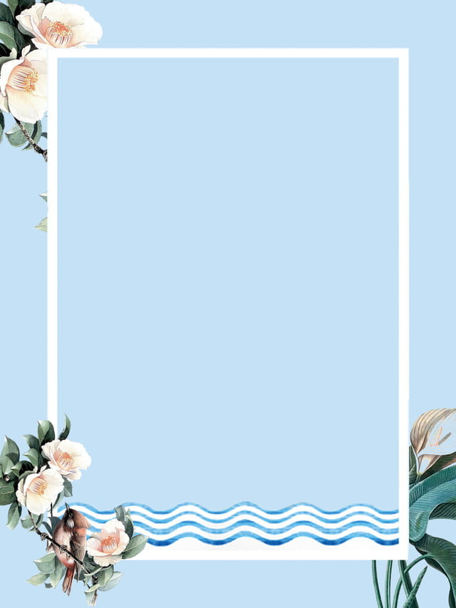 Minimalistic Blue Flowers Border Background Design, Flower ...