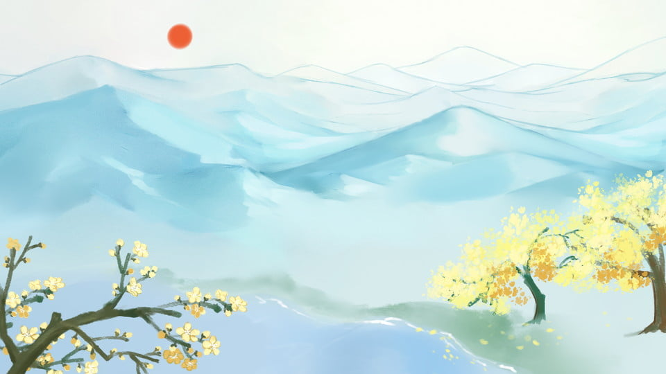 Painted far mountain sun osmanthus tree background material, Flower Tree, Snow Mountain, Far