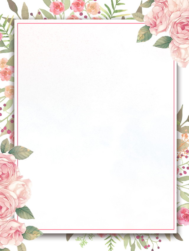 Painted Flowers Border Invitation Background Design ...