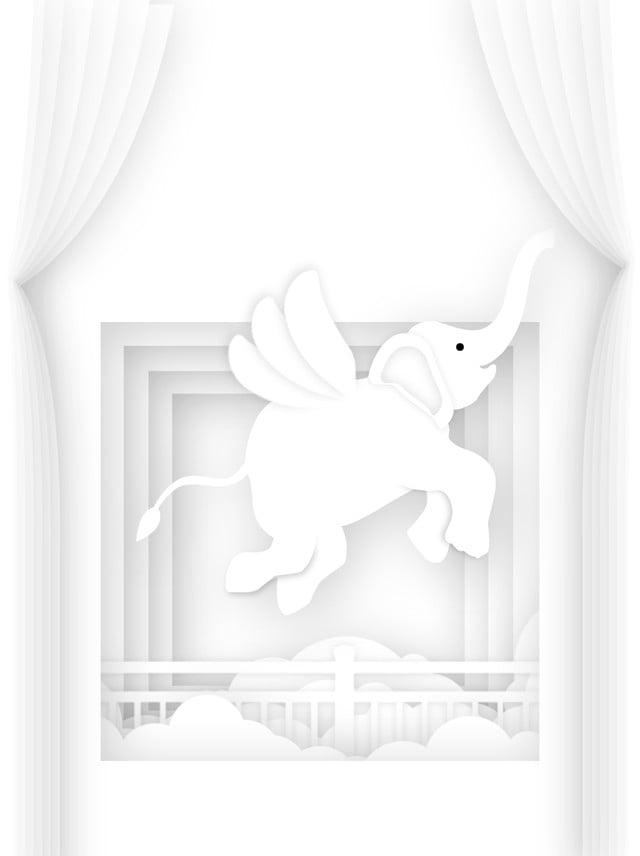 Sfondo Animale Minimalista Bianco Carta Tagliata Animale Sfondo