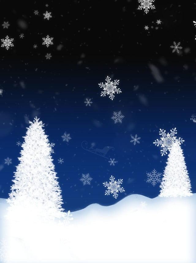 Fondo Di Nevicata Dellalbero Natale Sera Della Neve Dipinta A Mano